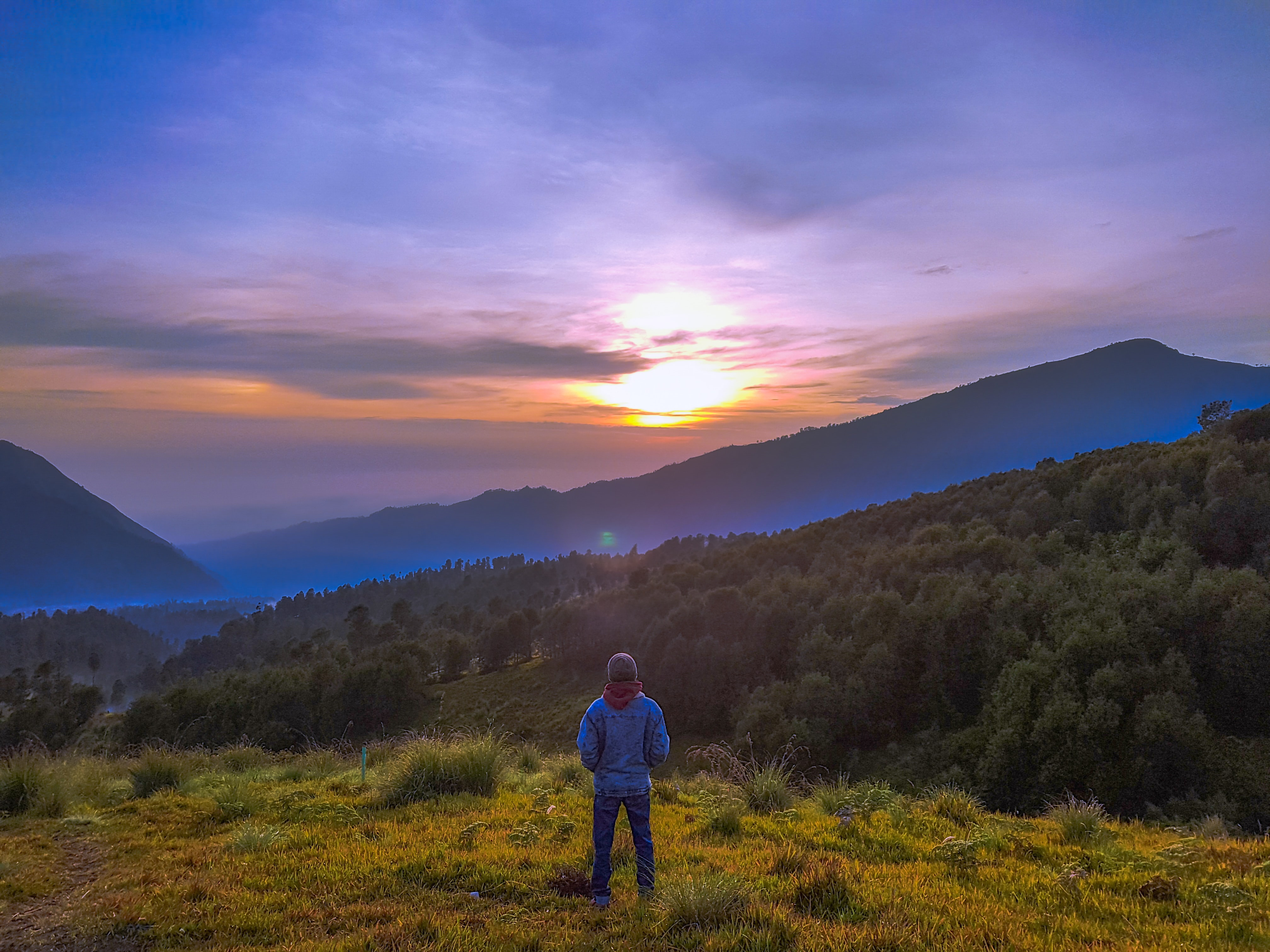 person standing on hill during golden hour