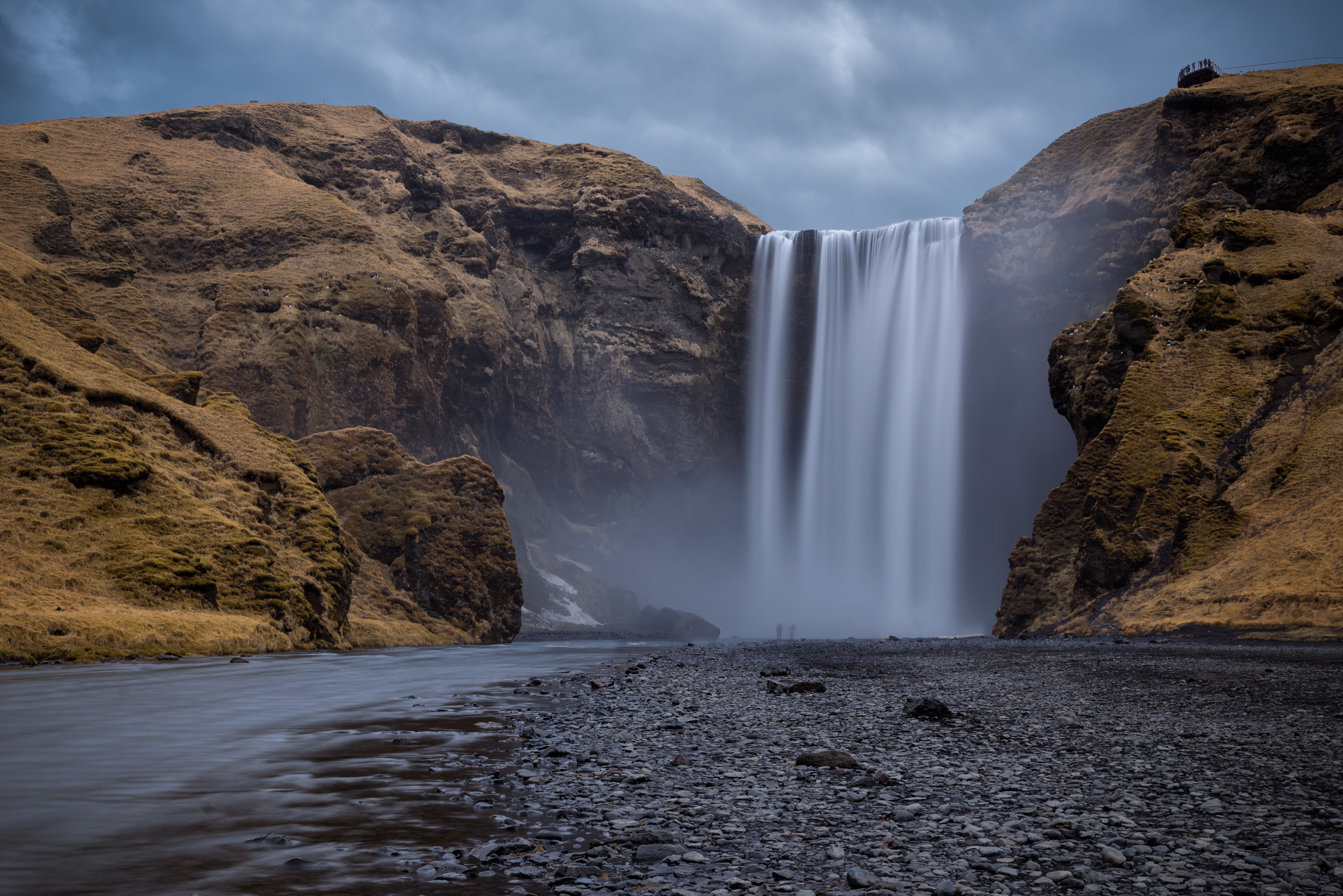 Skogafoss falls time lapse photography