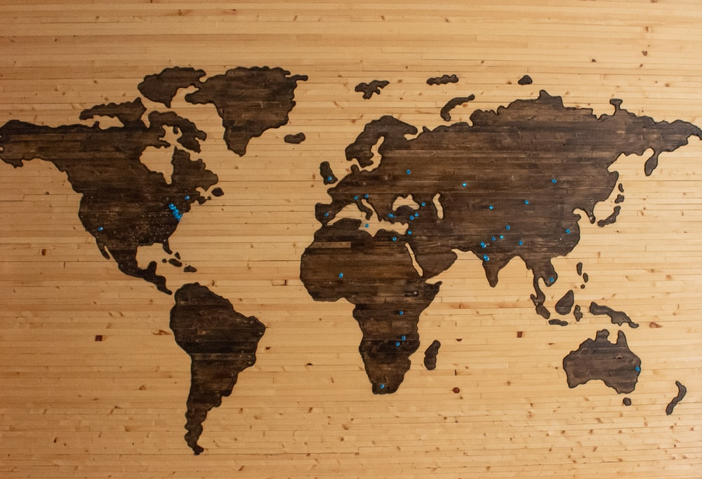 brown wooden map board