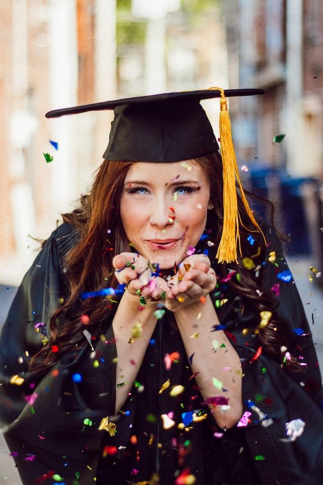 Girl with graduation cap