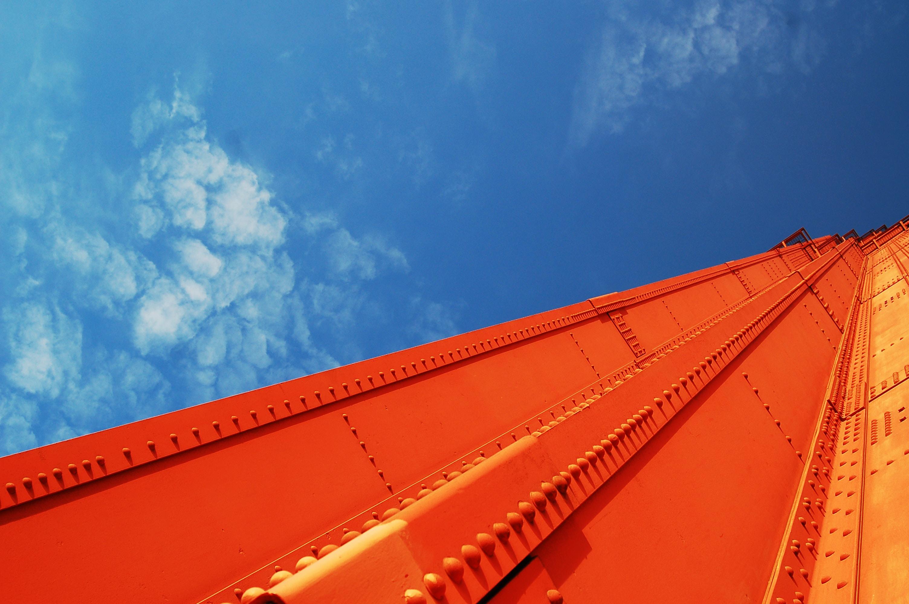 bottom view of orange building