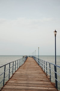 tilt shift lens photography of brown wooden dock