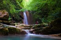 landscape photo of plunge waterfalls