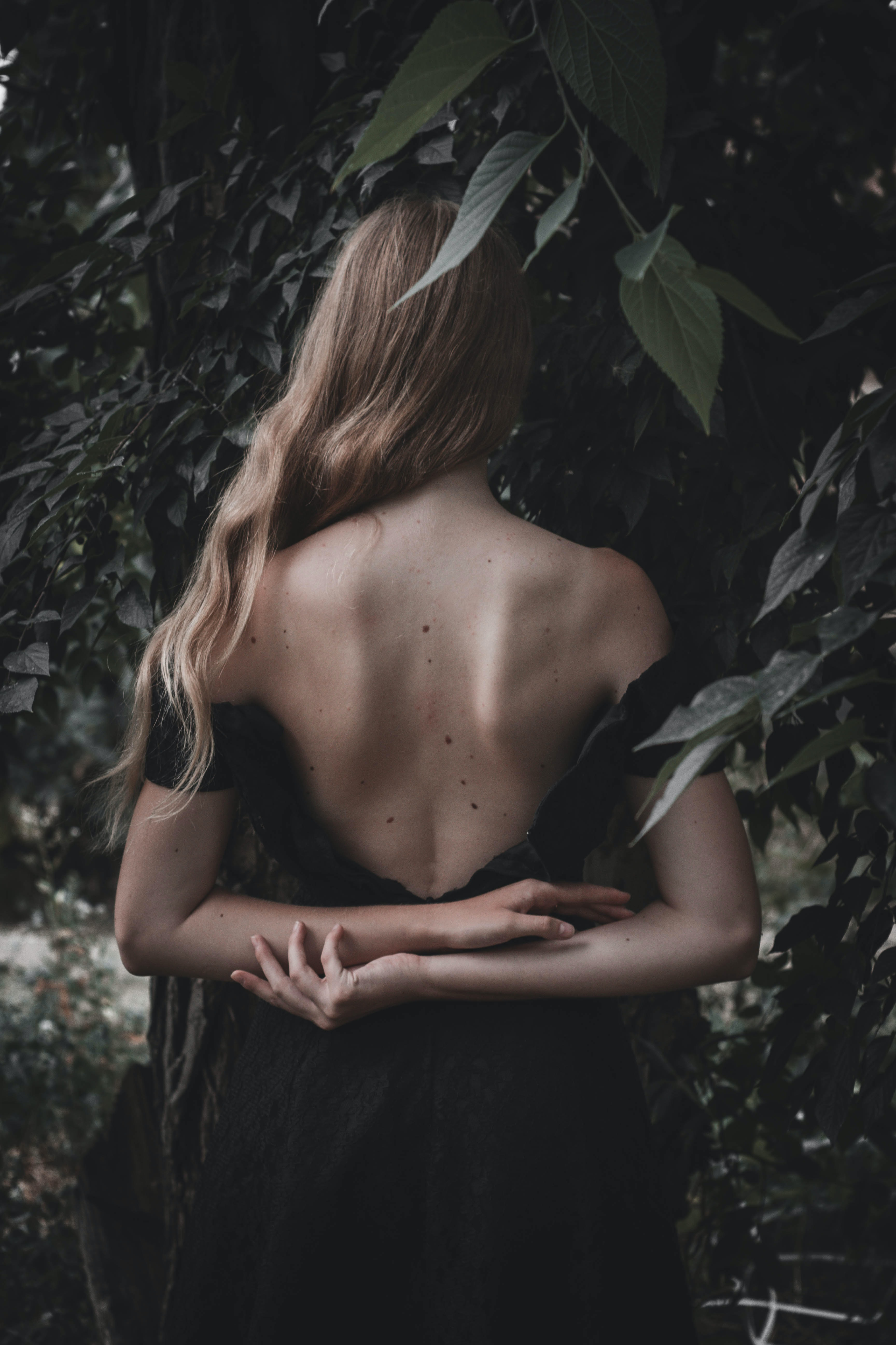 woman wearing backless dress near leaves