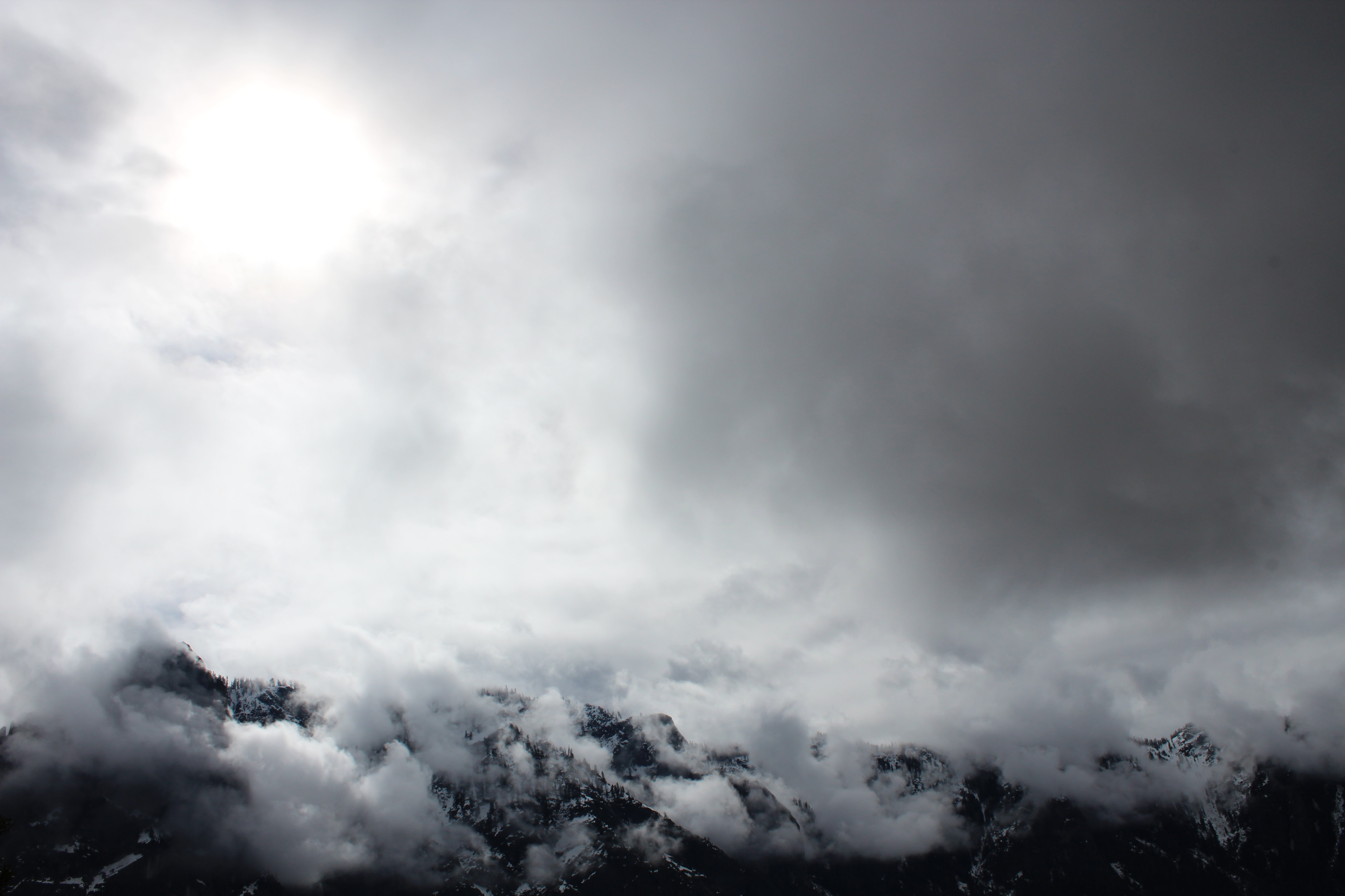 cloudy sky over alp mountain