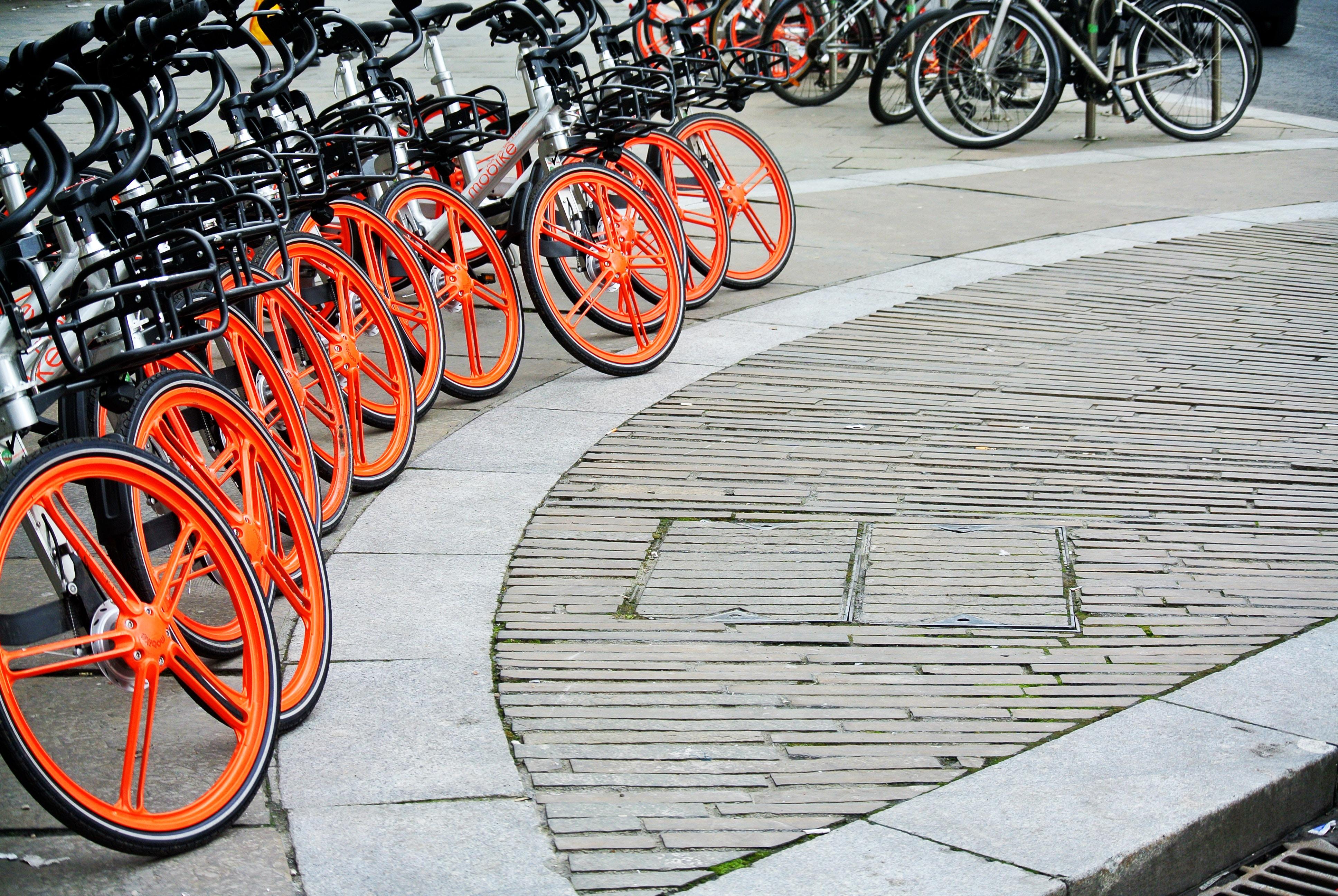 black bicycles parking