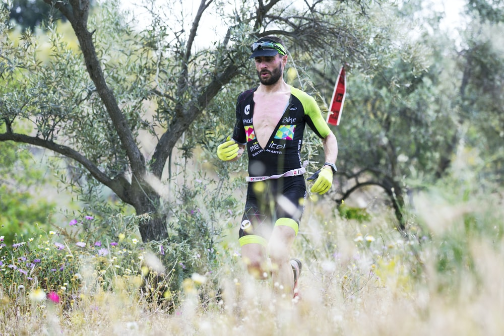 man running on forest