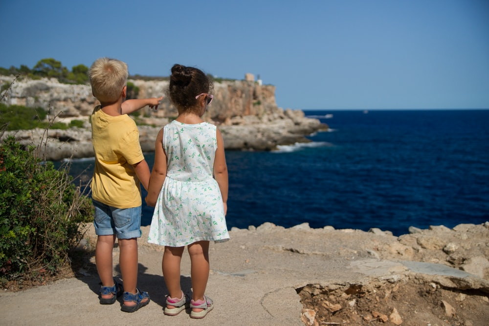 two children standing near cliff watching on ocean at daytime