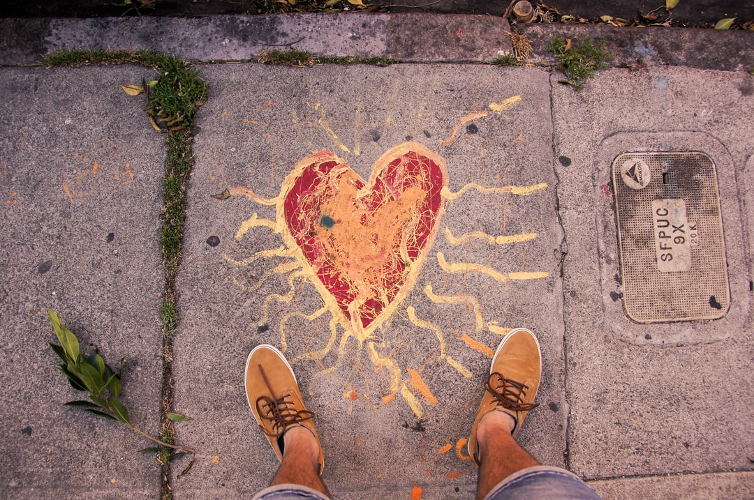Heart in the street - love in the pavement - graffiti