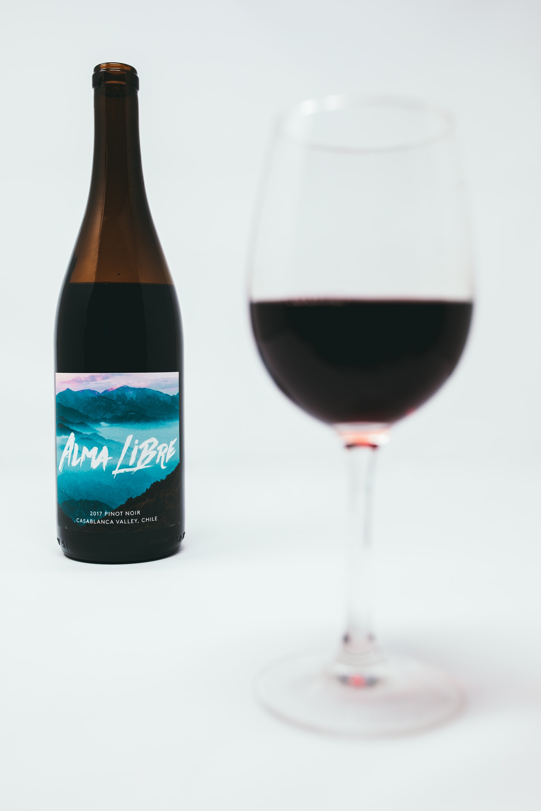 Alma Libre wine bottle near wine glass