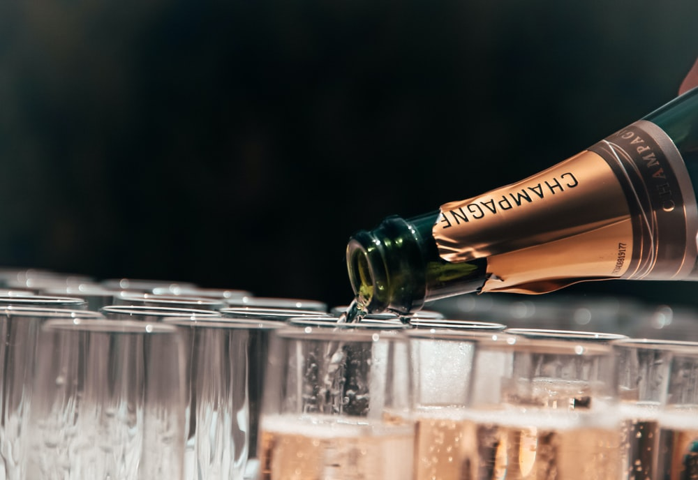 Champagne pouring on glass