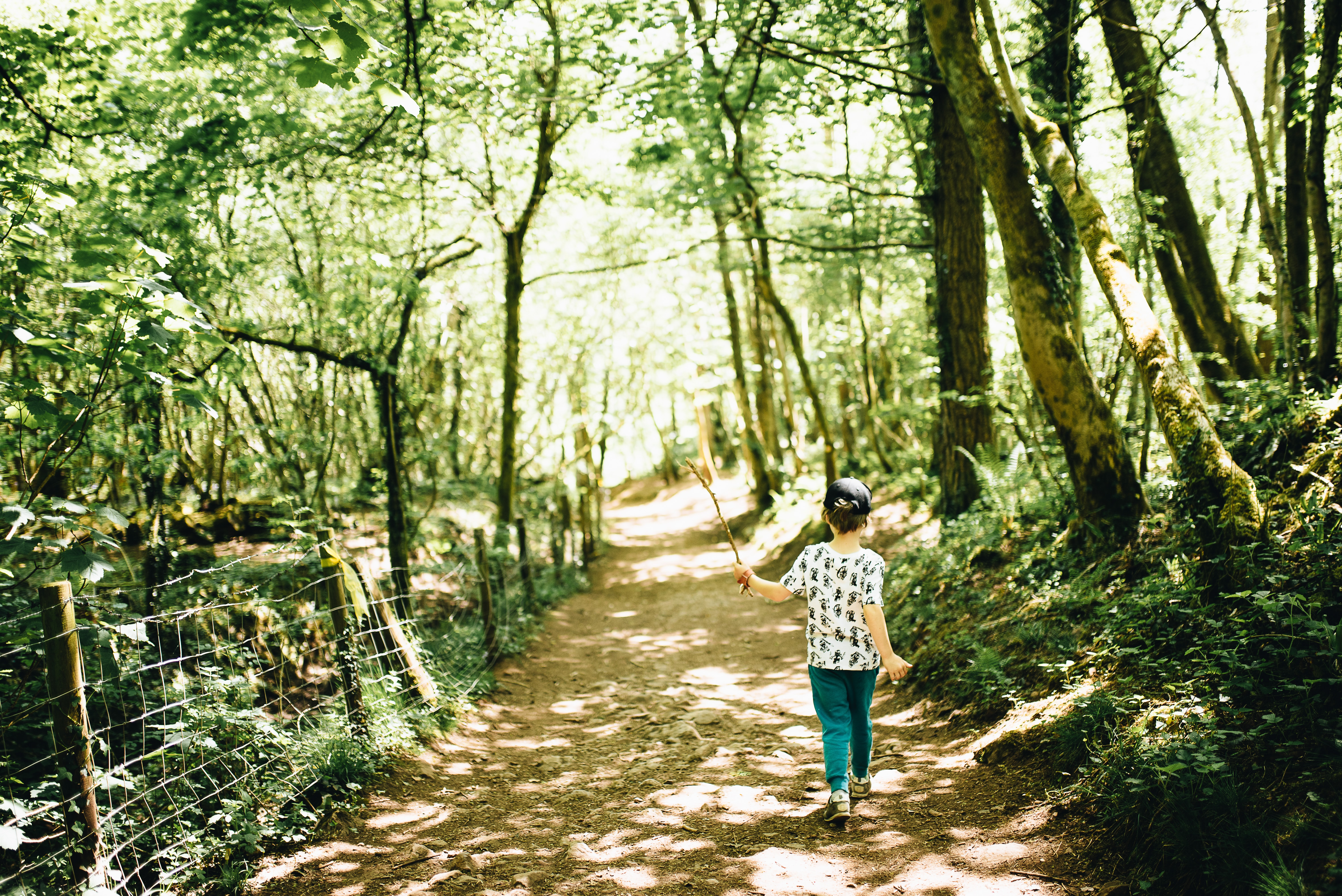 girl walking on forest