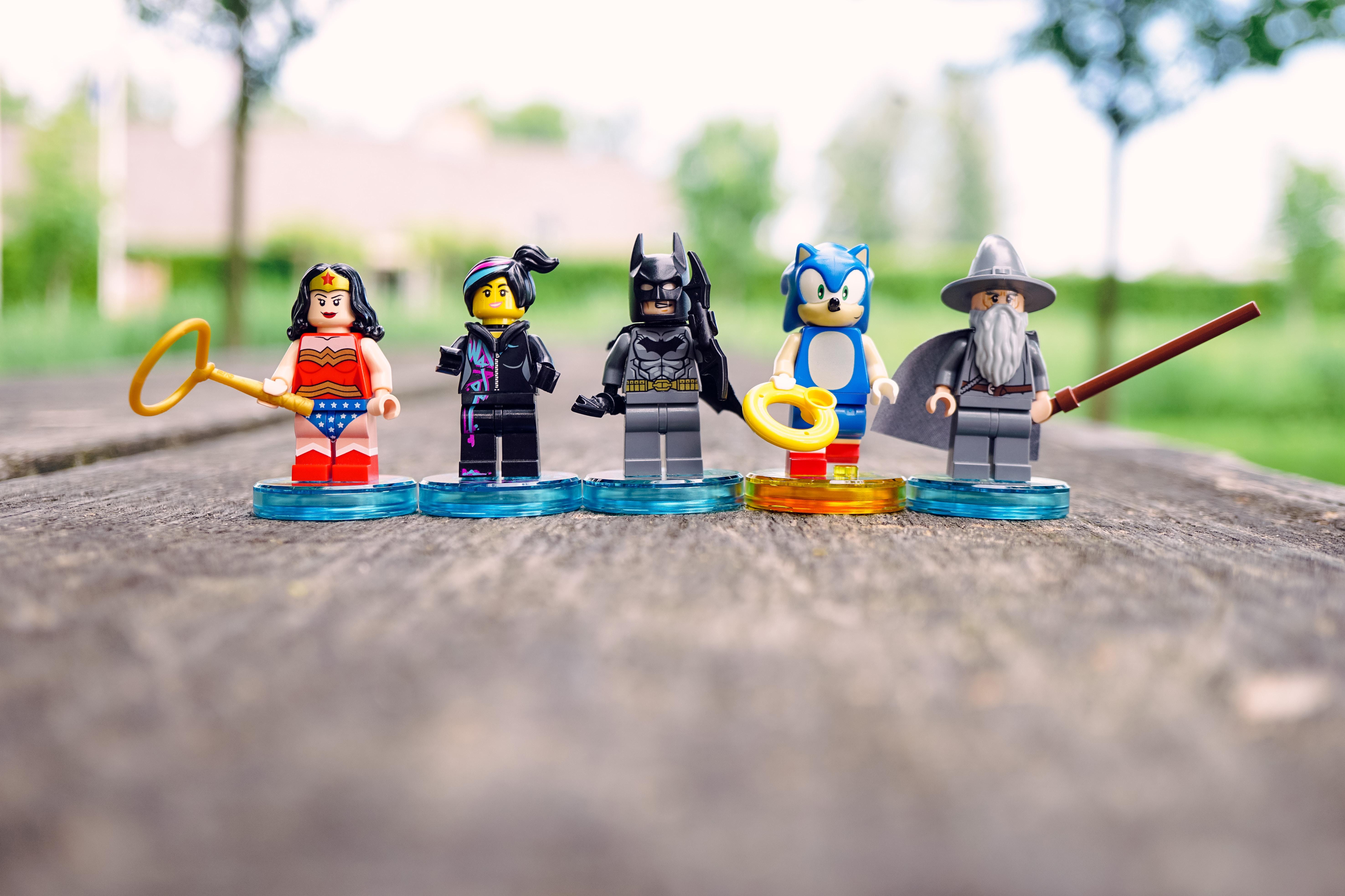 LEGO Batman, Wonder Woman, Sonic Hedgehog, and Harry Potter Gandalf toys