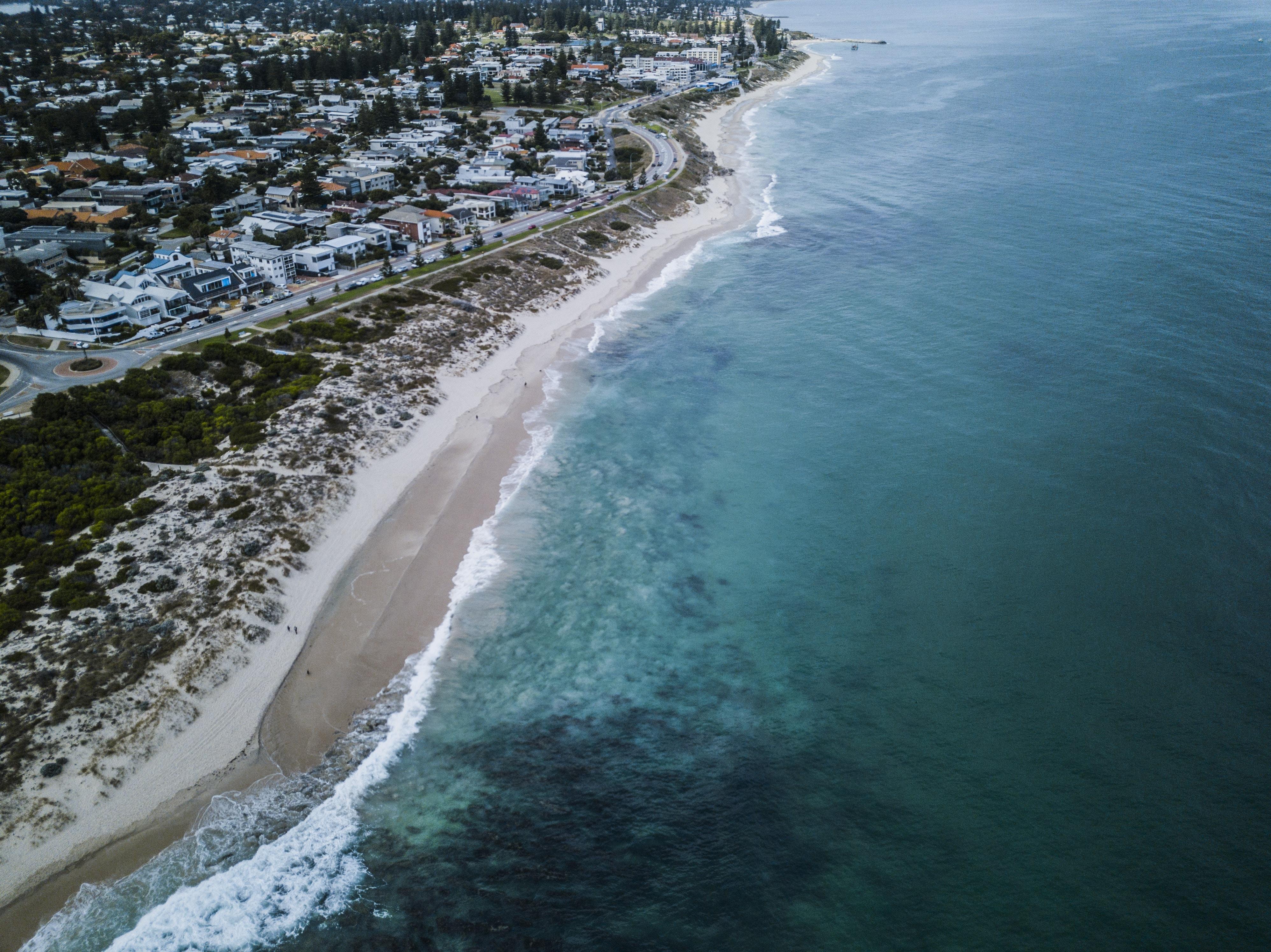 bird's eye view of beach line