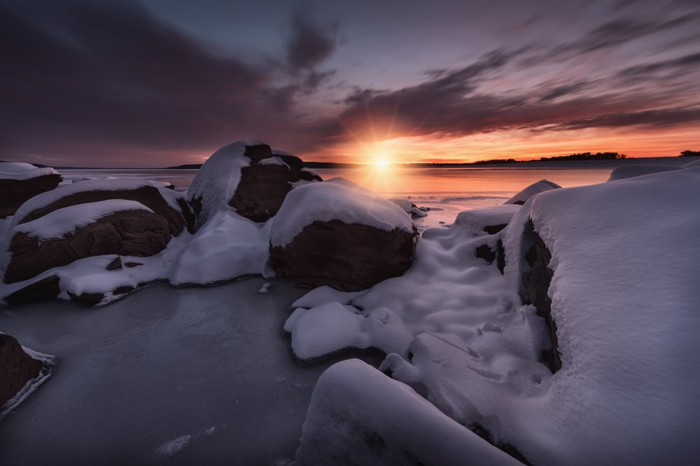silhouette of snow capped rocks