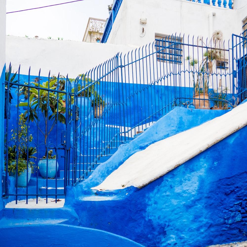 stair with blue metal railings