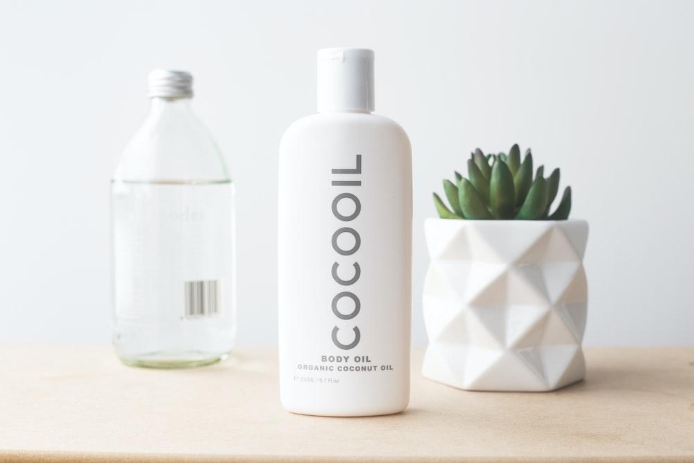 Cocooil baby oil on desk
