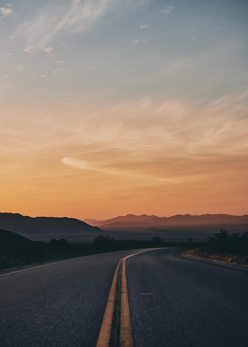empty gray asphalt road