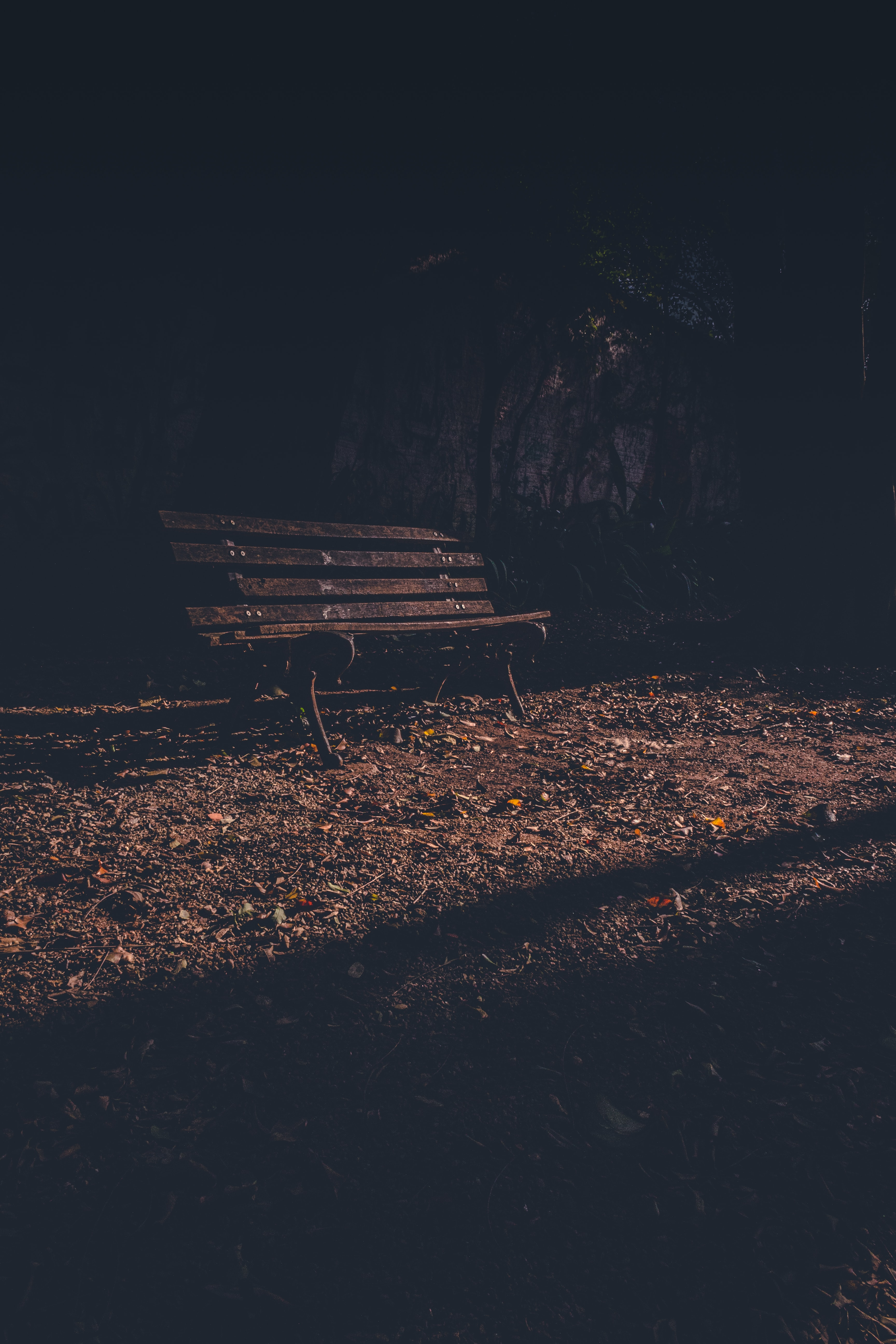 empty rusted bench