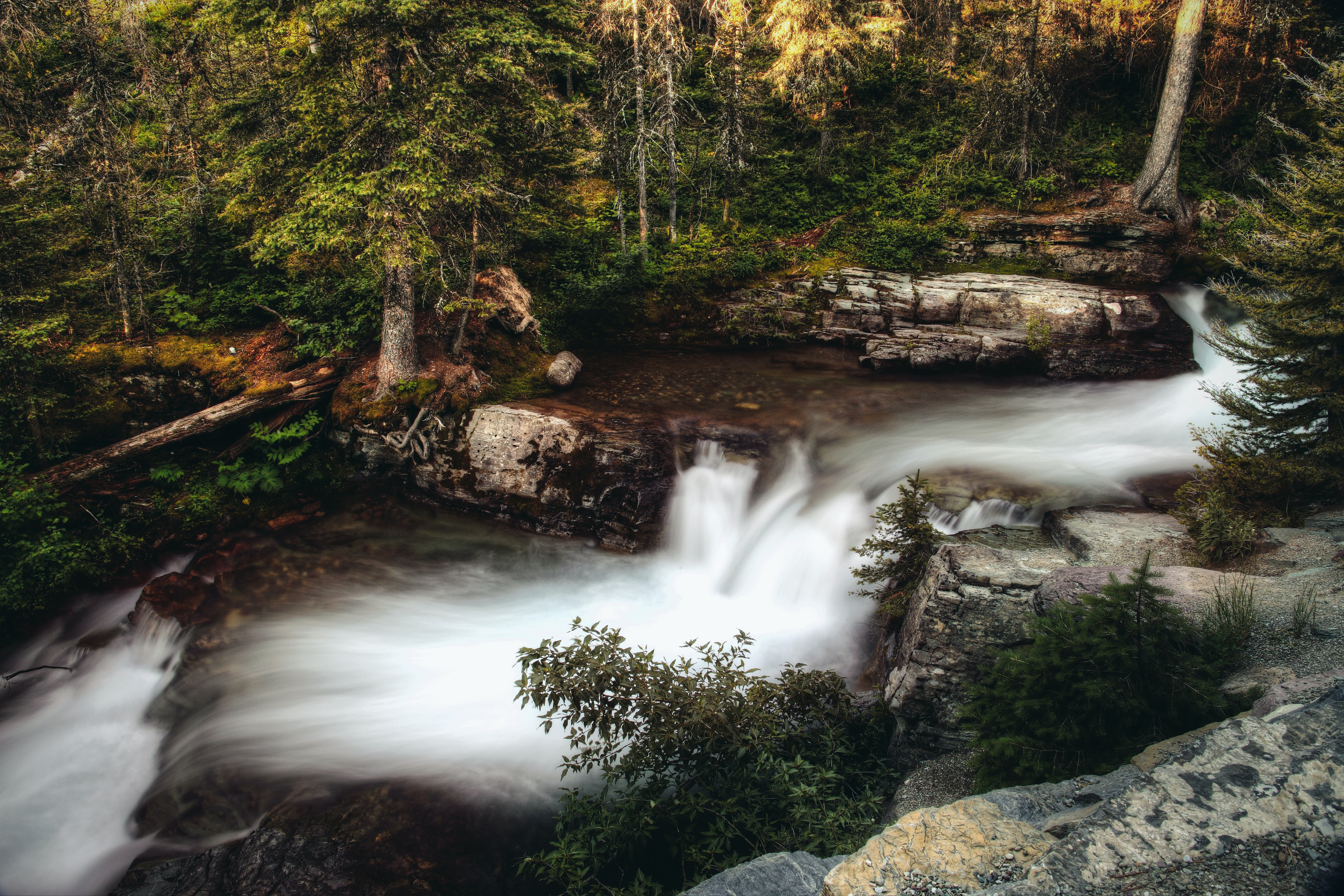 time-lapse photography of waterfall at the jungle