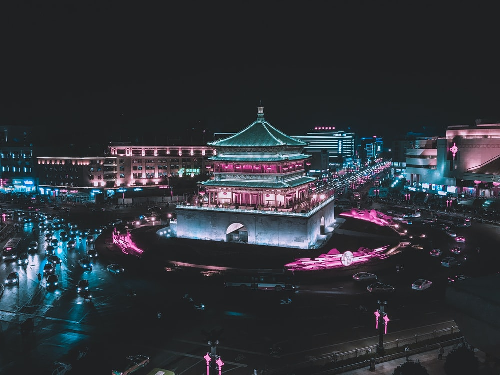 aerial photography of pagoda building at nighttime