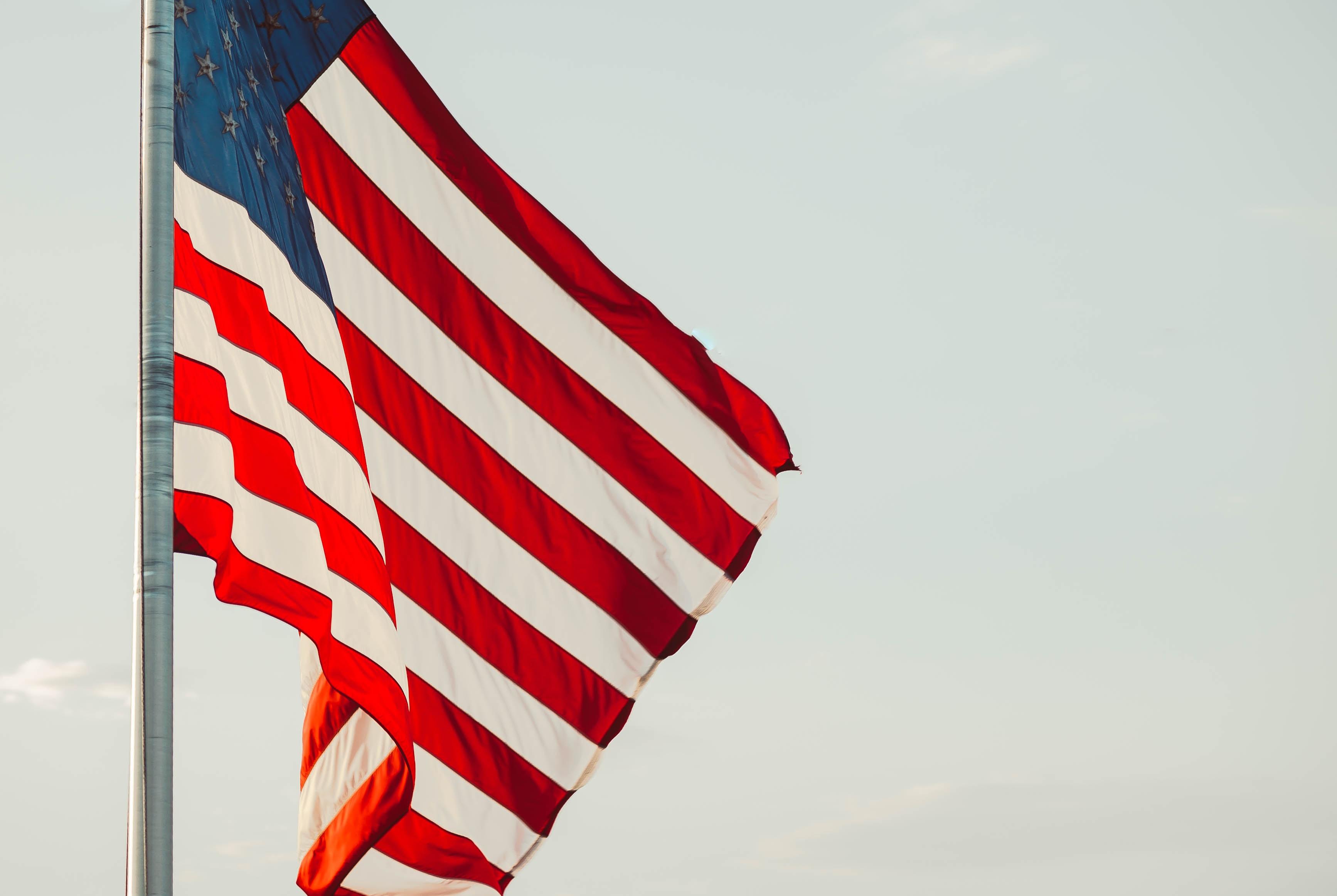 shallow focus photo of USA flag