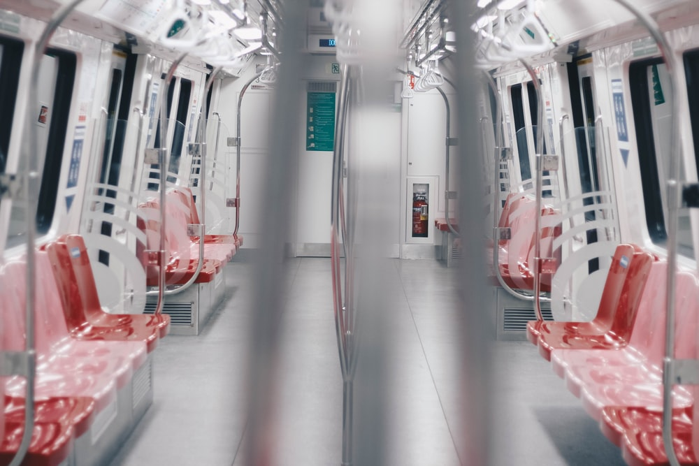 gray and red train interior
