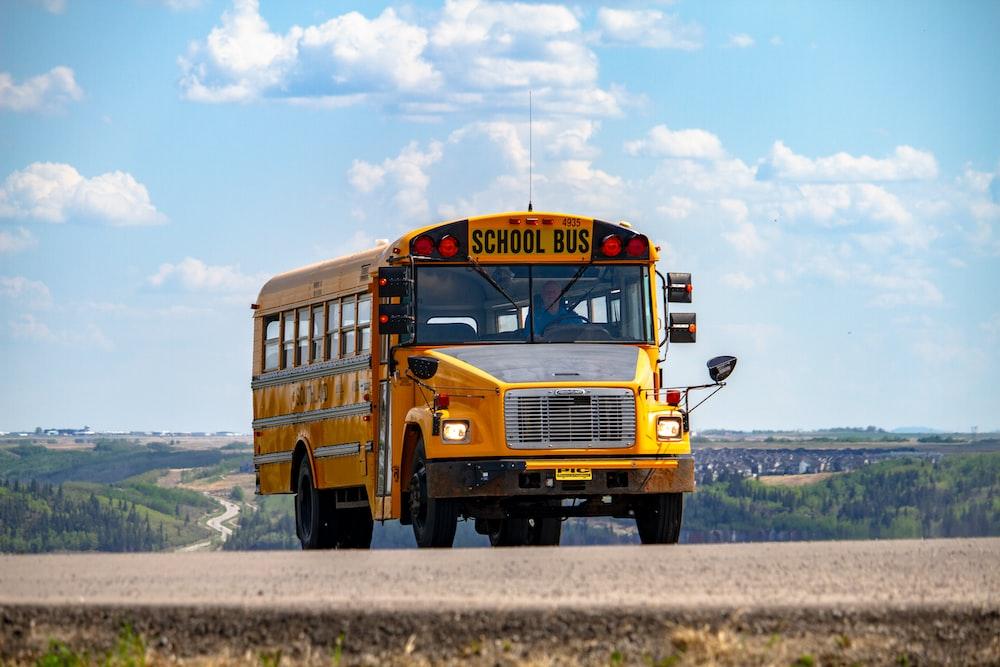 school bus on pathway