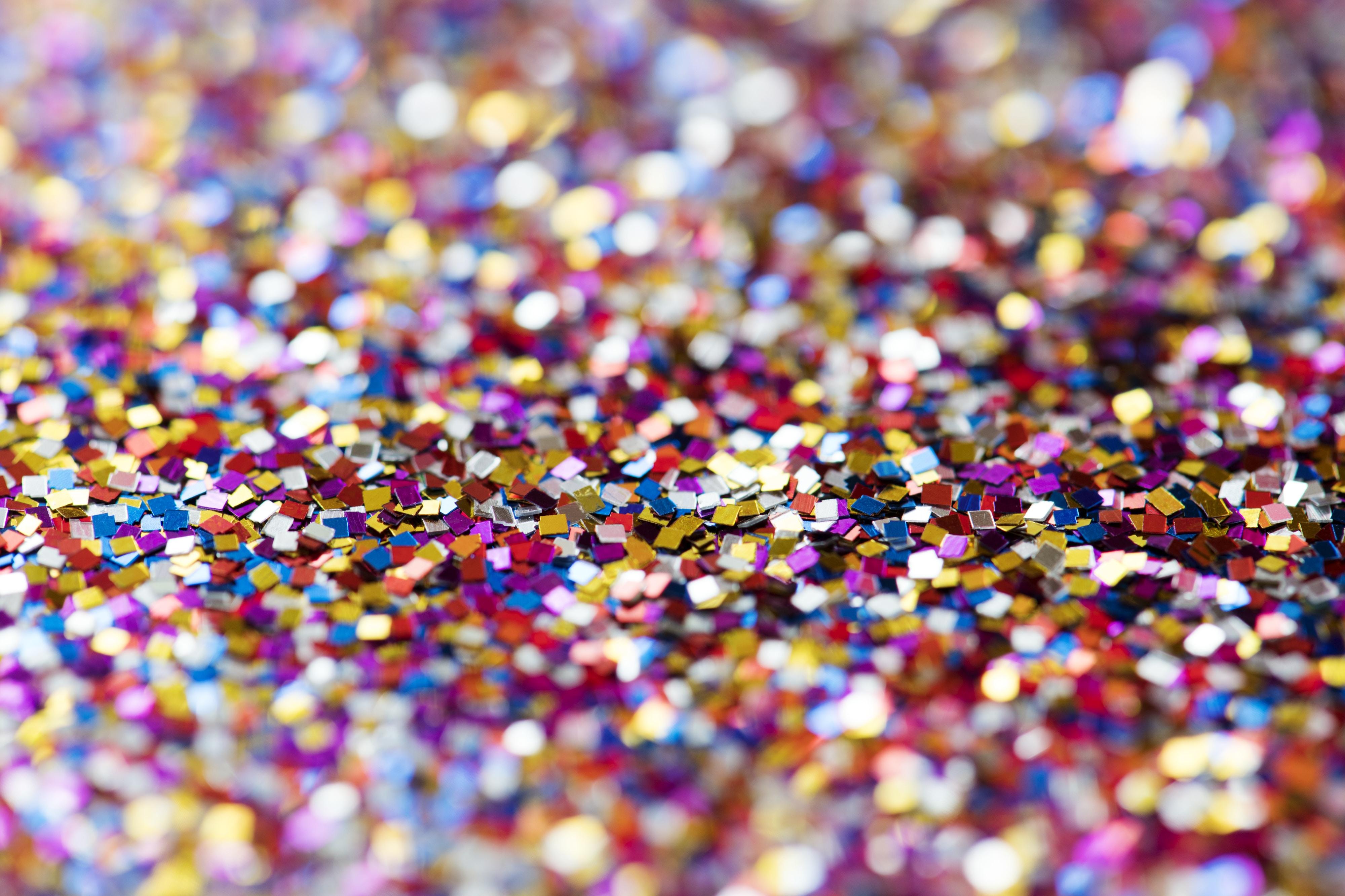 multicolored glitters