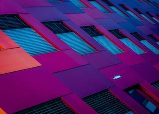 bottom view of purple building