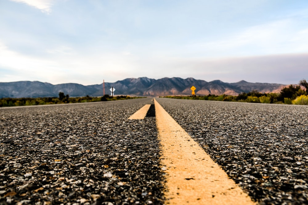 worm's eyeview of road
