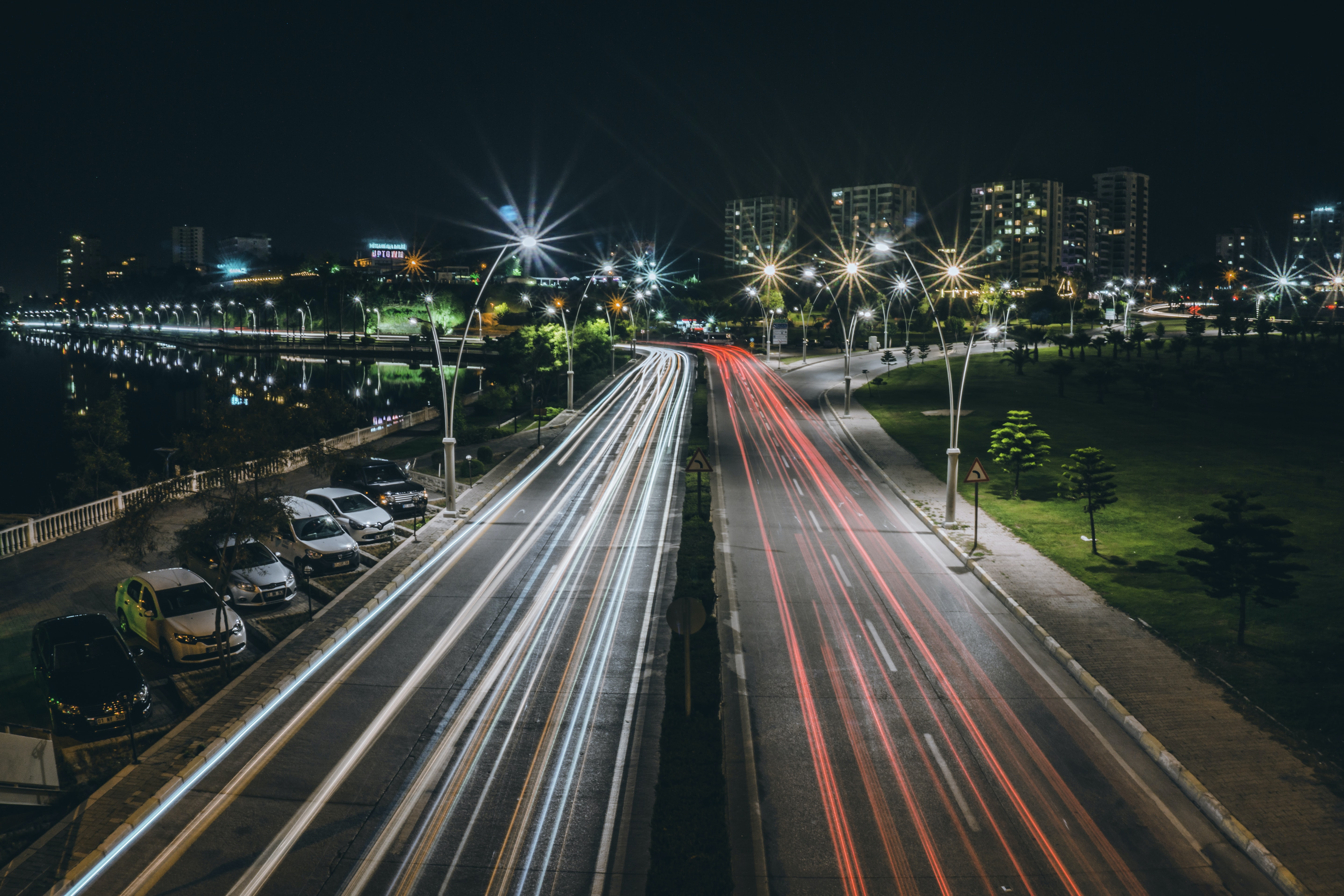 timelapse photography of road during night time
