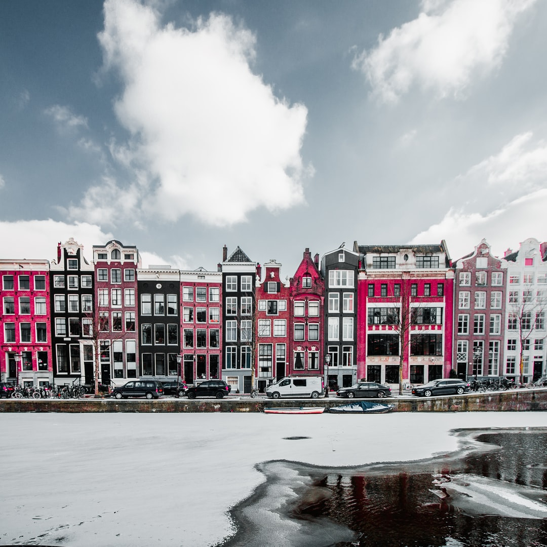 pink, white, and black, and purple buildings