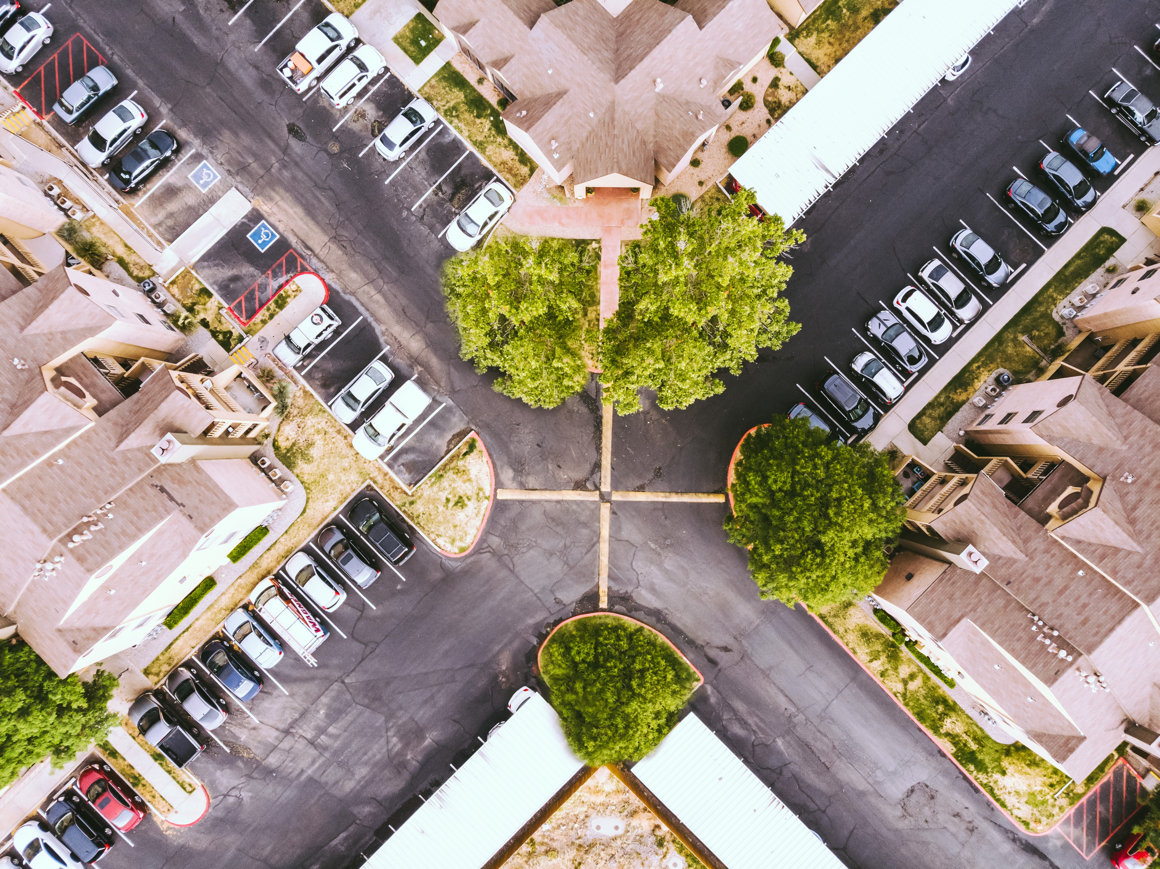 aerial photo of intersection road