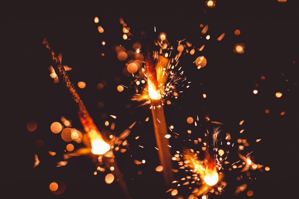fireworks in the dark
