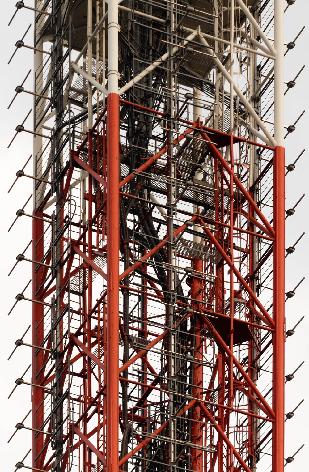 red and gray metal tower
