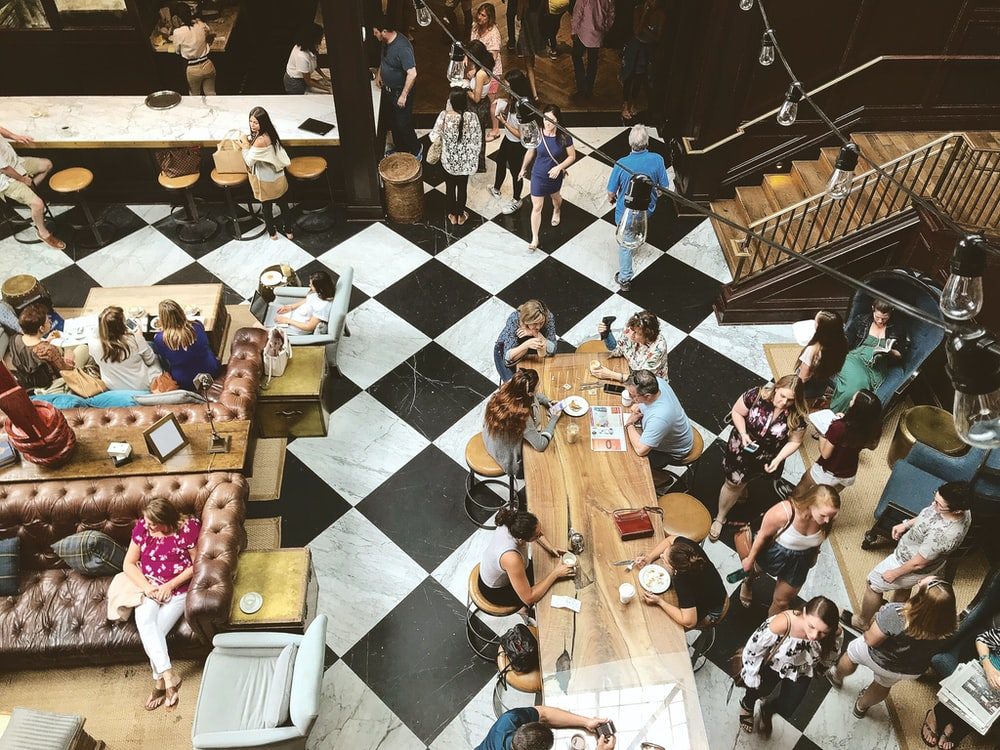 top view photography of people in food court interior