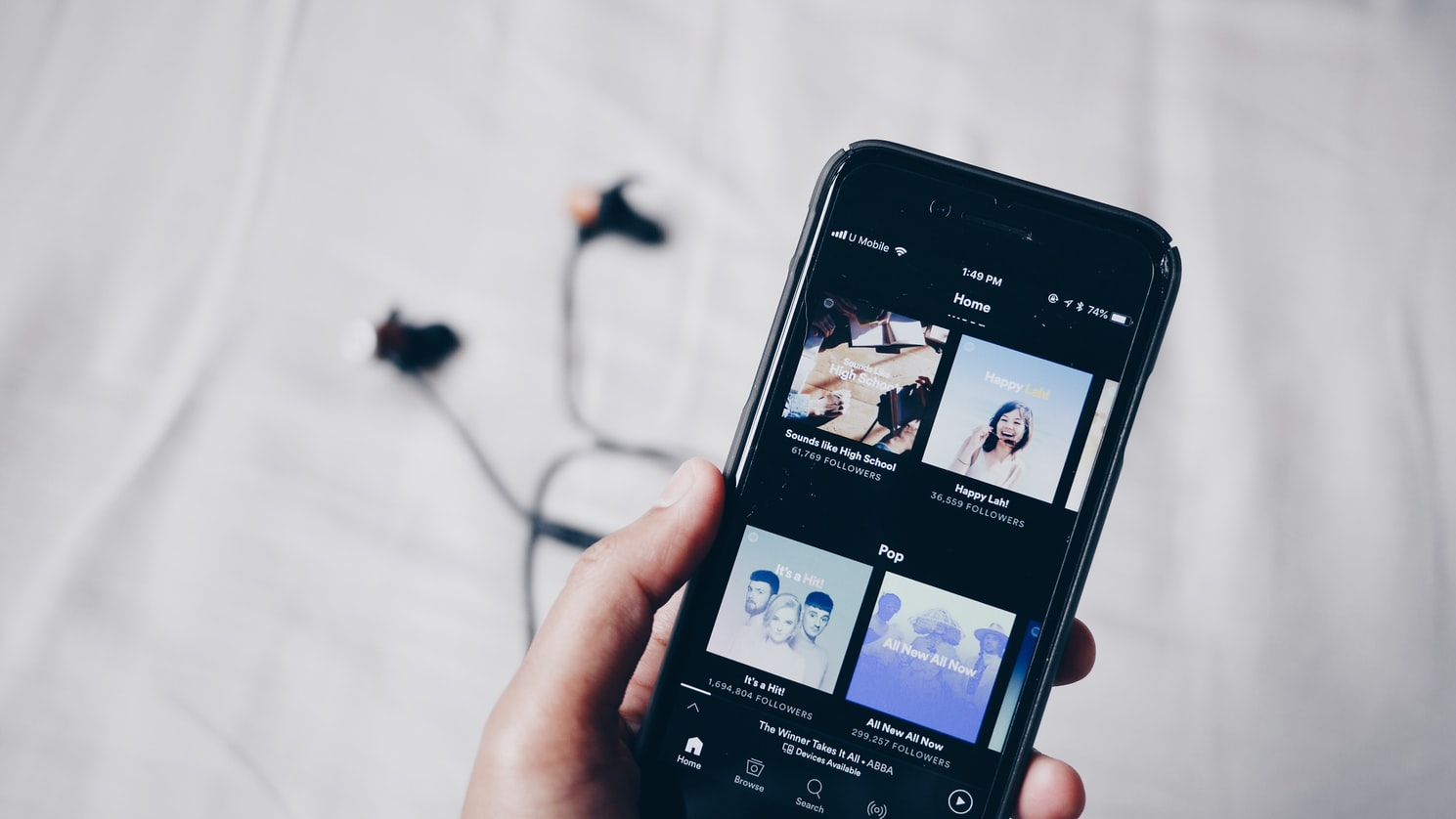 Photo of a Spotify on a smartphone