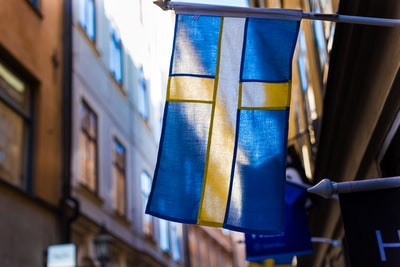 blue and yellow flag on brown wall sweden teams background