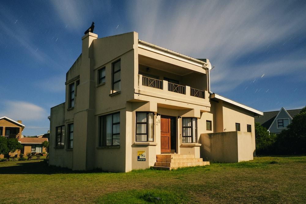 beige 2-storey house
