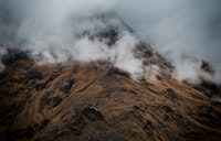 bird's-eye view photography of brown mountain