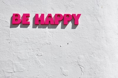 red be happy wall decor typography zoom background