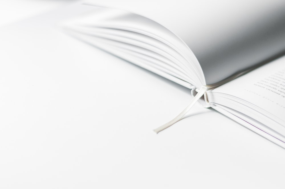 white book marker on book page