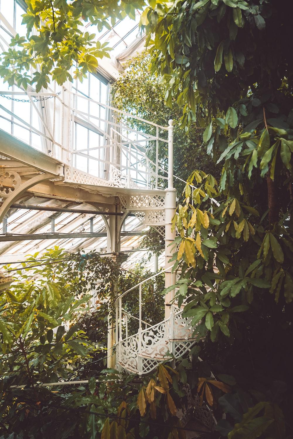white steel spiral staircase