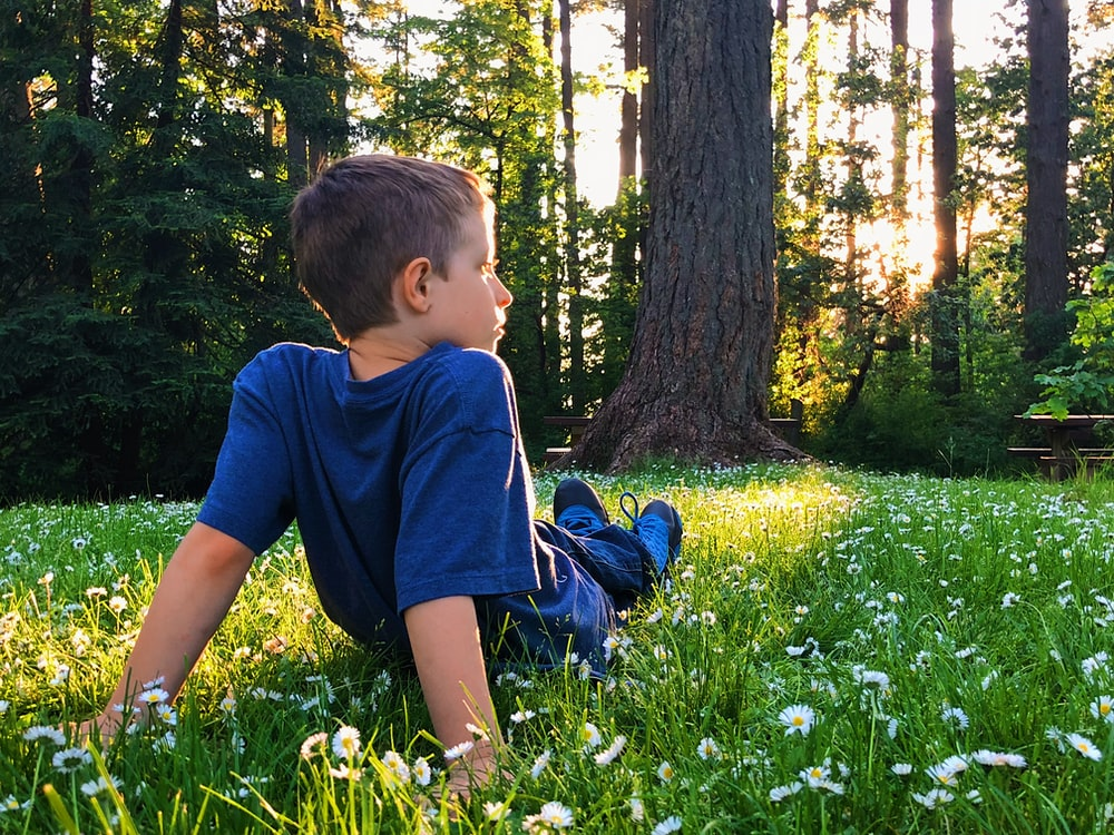 boy in blue t-shirt and blue shorts sitting on green grass field