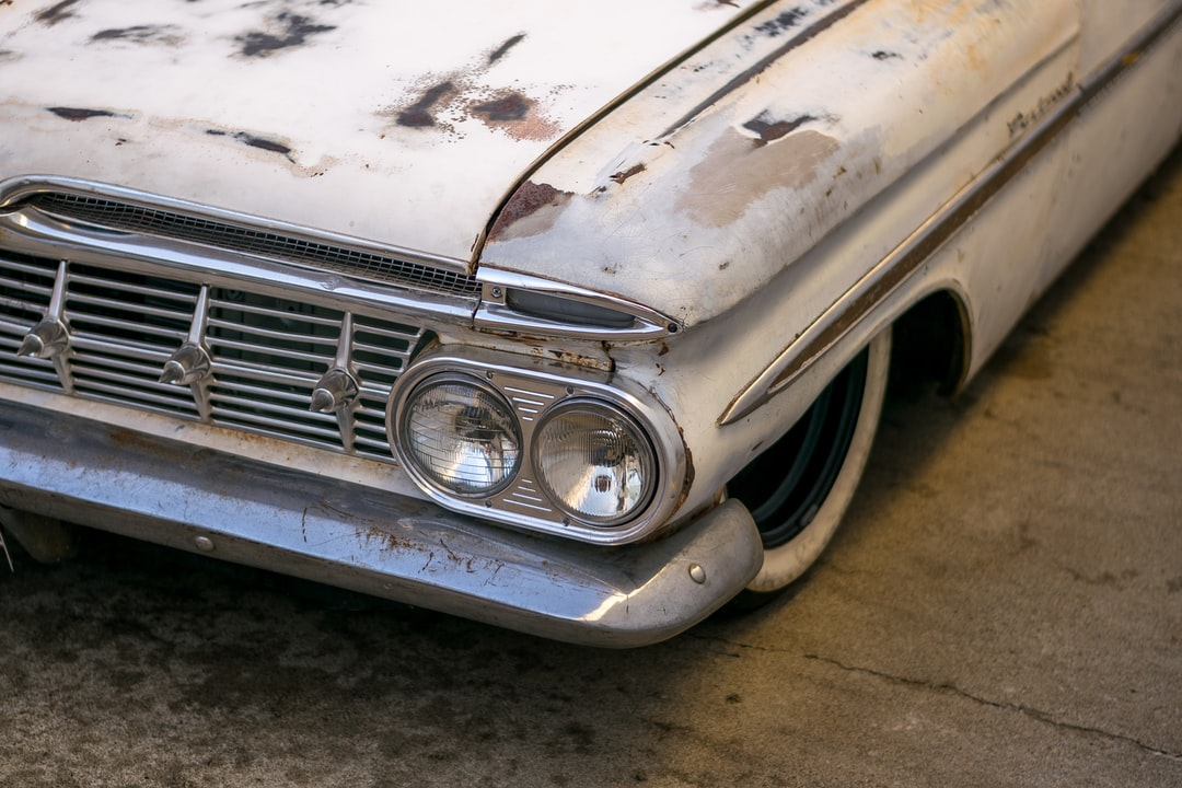 Closeup of a 1959 Chevrolet Parkwood with heavy patina
