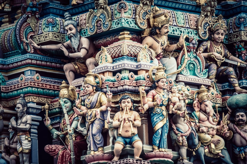 group of Hindu Deity statues
