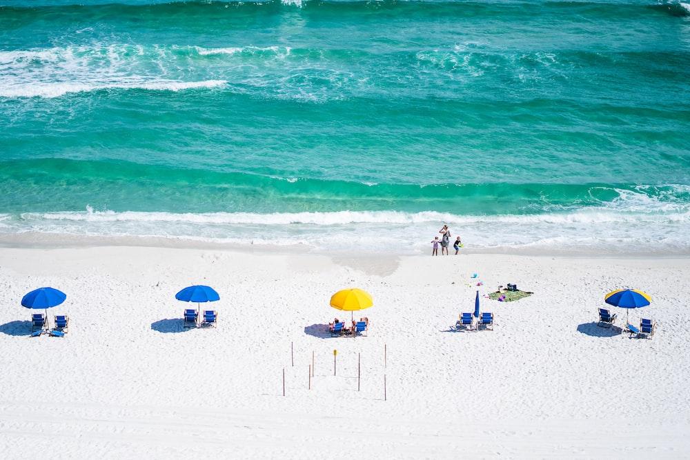 blue and yellow umbrellas on seashore