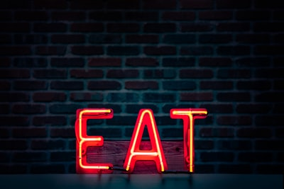 eat led signage restaurant teams background
