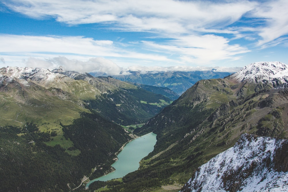 bird's eye view photography of mountains